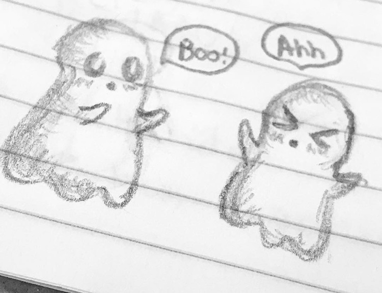 Drawing of cute ghosts