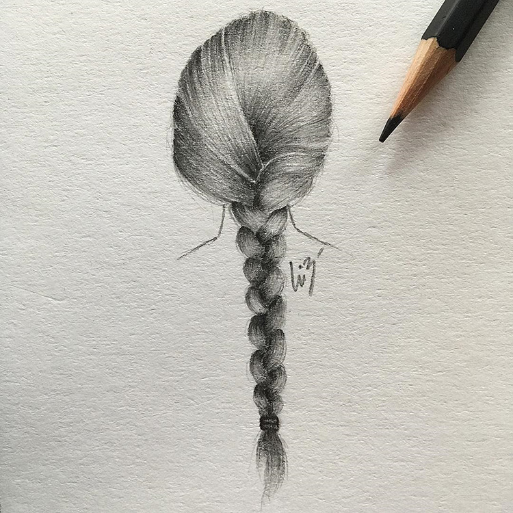 Drawing of braided hair