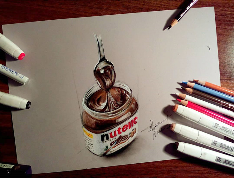 Drawing of a Nutella jar