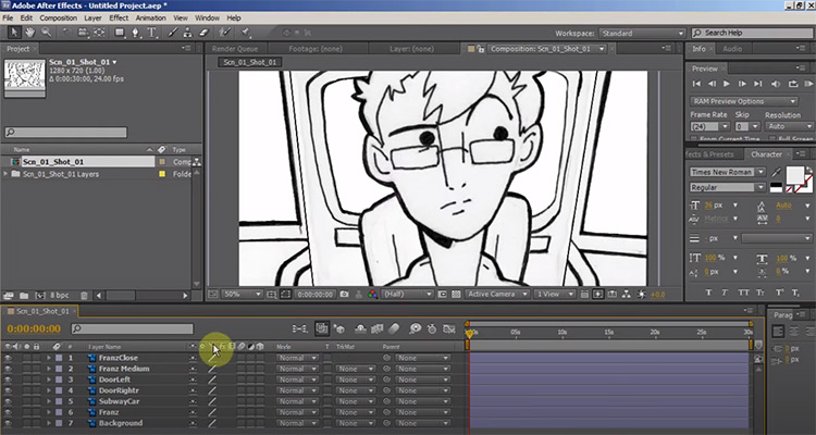 After Effects for animatic design