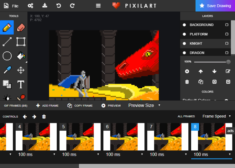 Pixilart software screenshot
