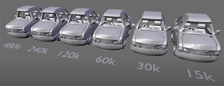 LOD Level of Detail in car models