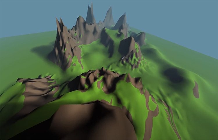 Terrain modeled in 3D lowpoly LOD