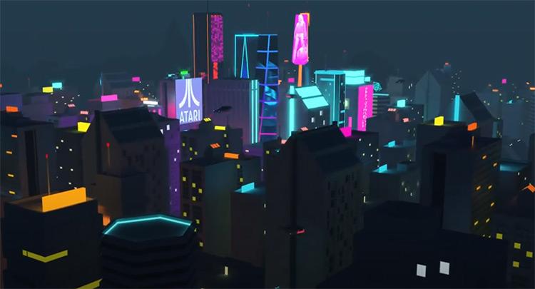 Lowpoly digital cyberpunk cityscape example 3D modelled
