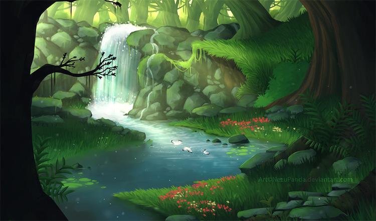dense jungle landscape waterfall forest
