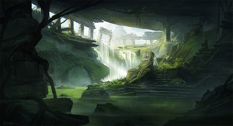 jungle ruins concept art deep shadows