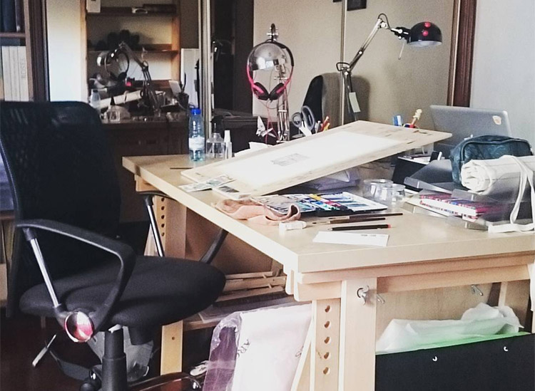 traditional drawing desk setup