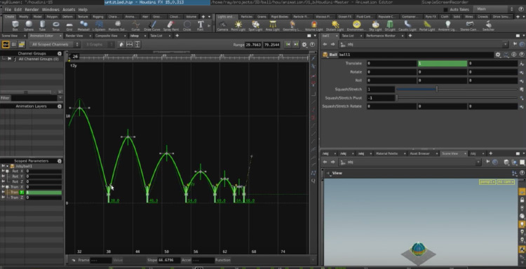 Houdini software animation gui
