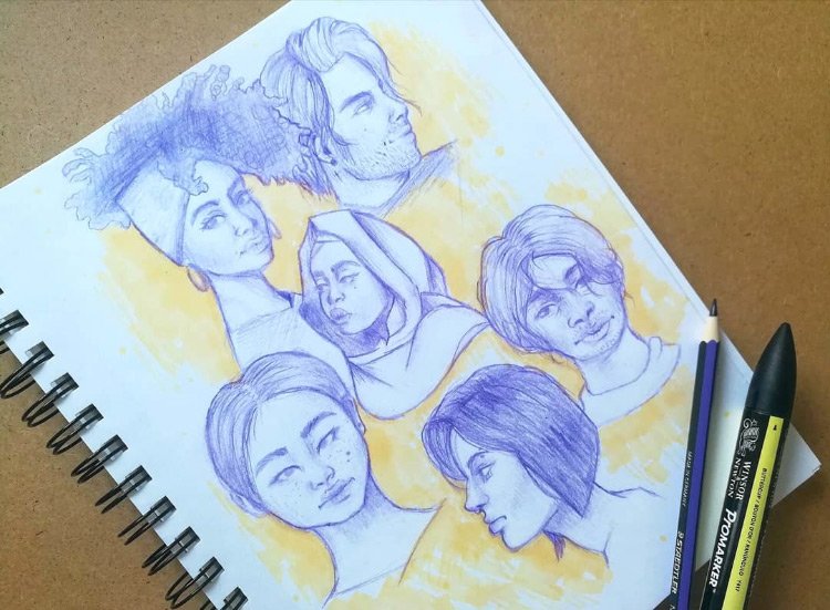 Faces sketching and drawing practice