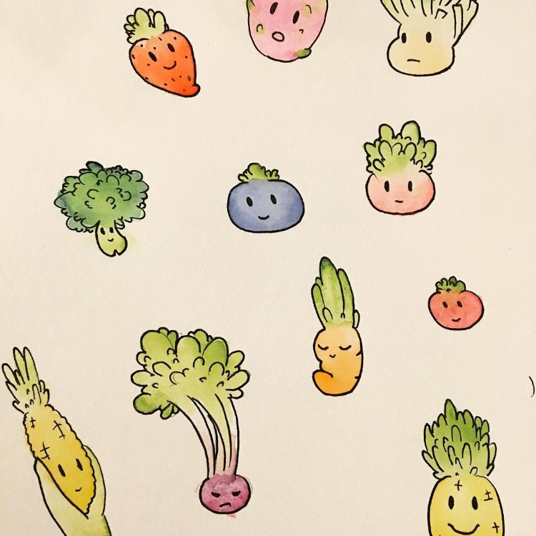 Fun colorful veggie illustrations