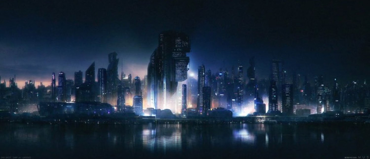 Dark cityscape matte painting