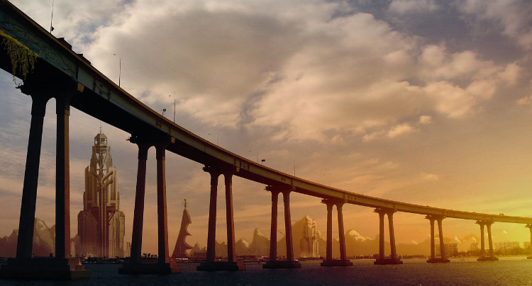 Sunset bridge matte painting
