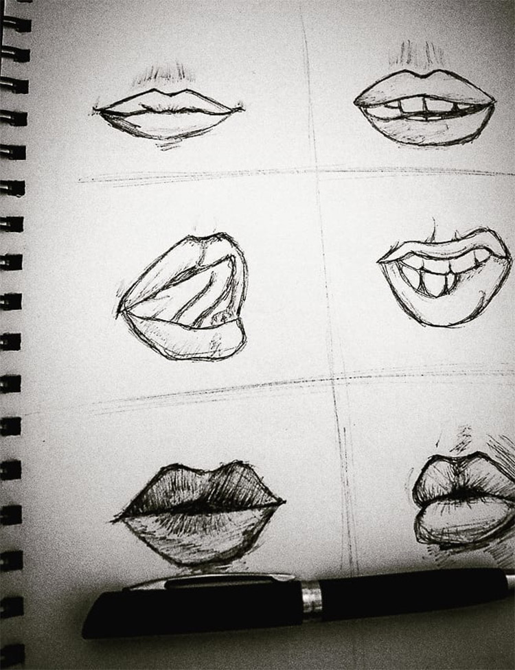 Dark lips sketched in squares