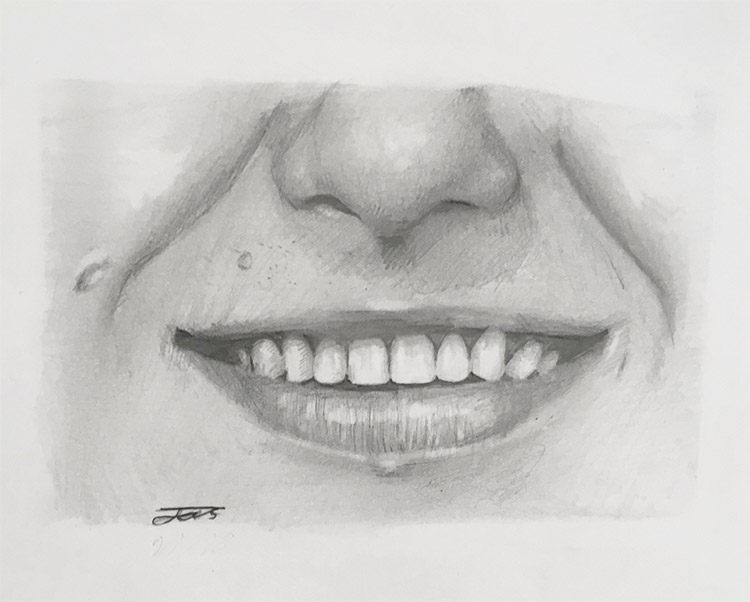 Full mouth nose teeth drawing