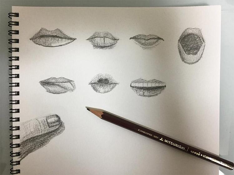Doodling human lips
