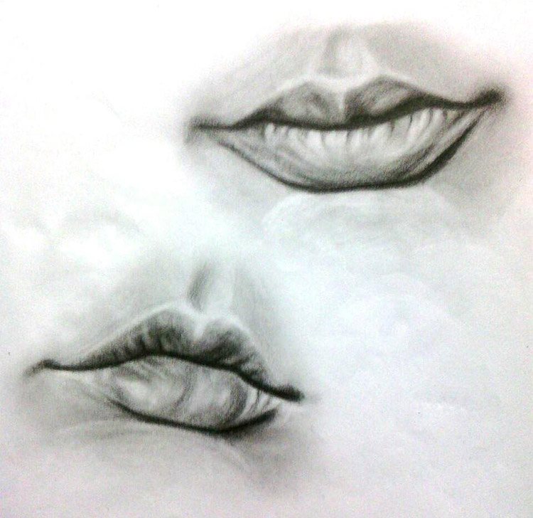Realist drawings of lips