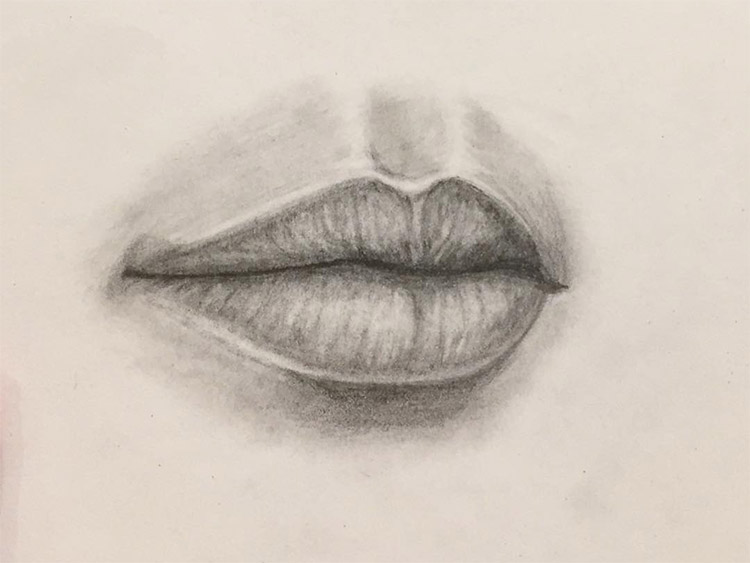 Charcoal lips drawings