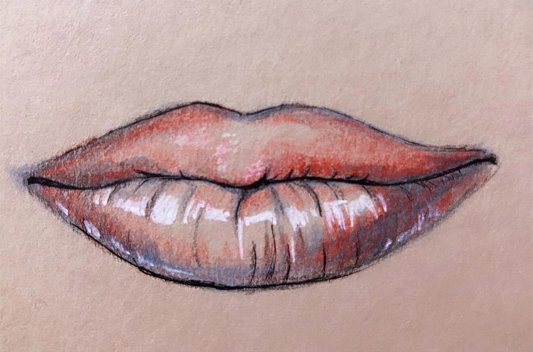 Red lips colored pencil