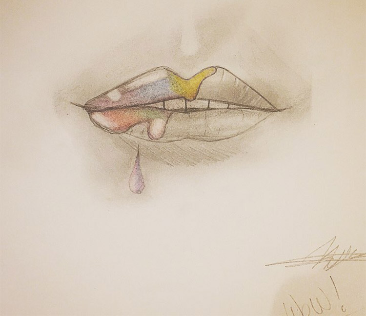 Rainbow lips drawing