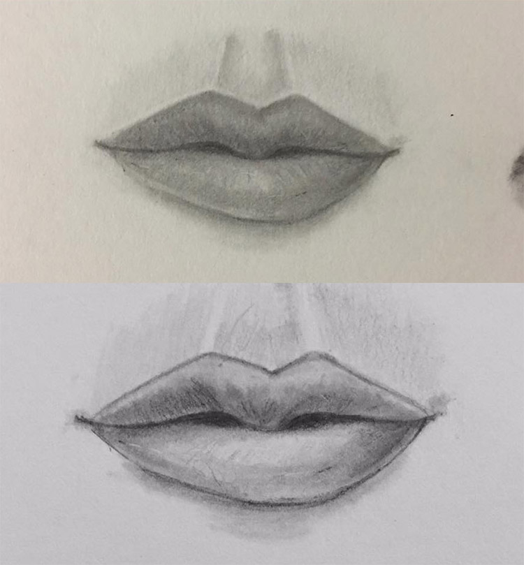 Pencil graphite lips
