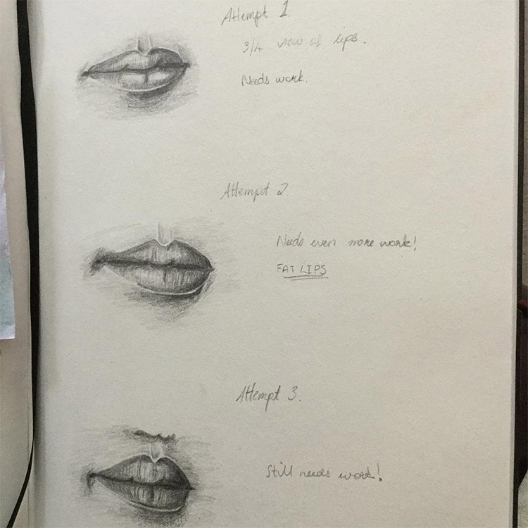 Praticing drawing lips