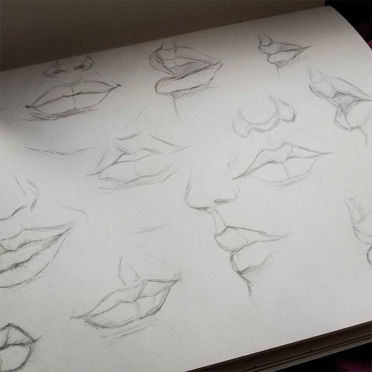 Red lips with piercings drawn