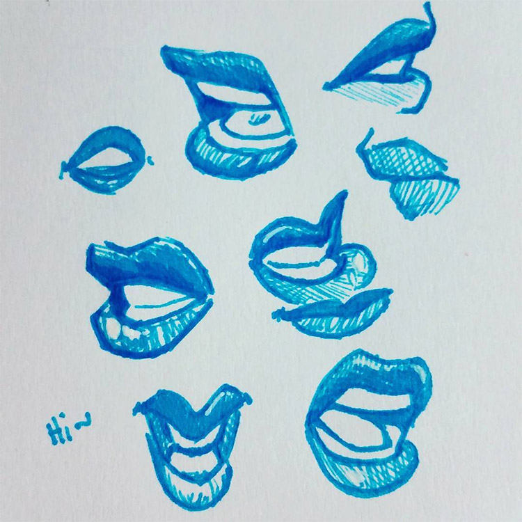Sketchbook of lip drawings