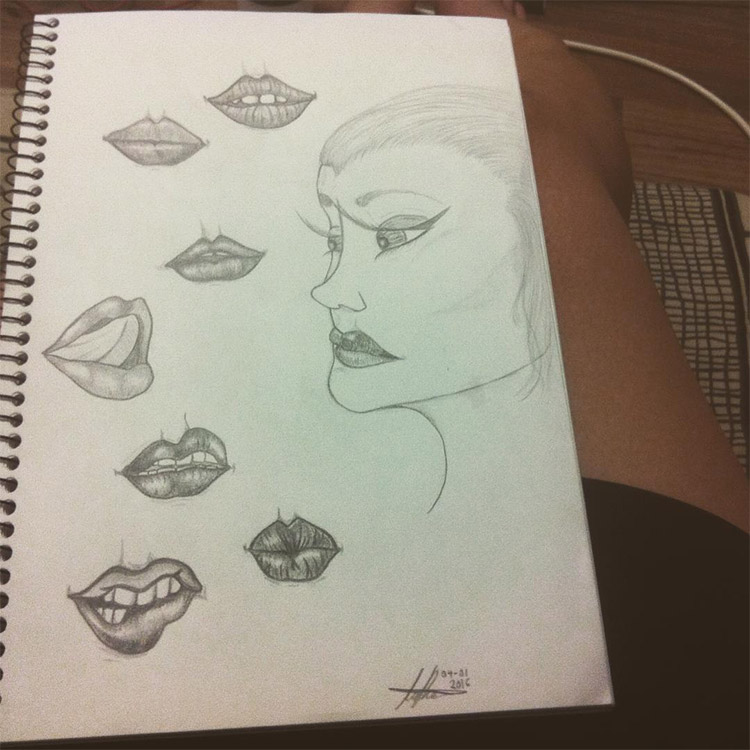 Ink sketched mouth and lips