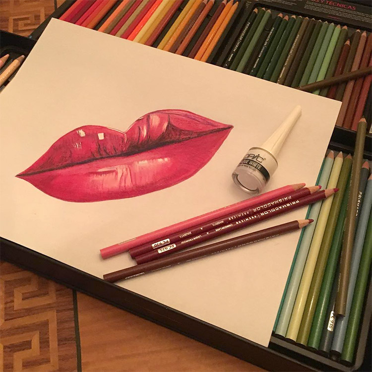 Photo of lips in sketchbook