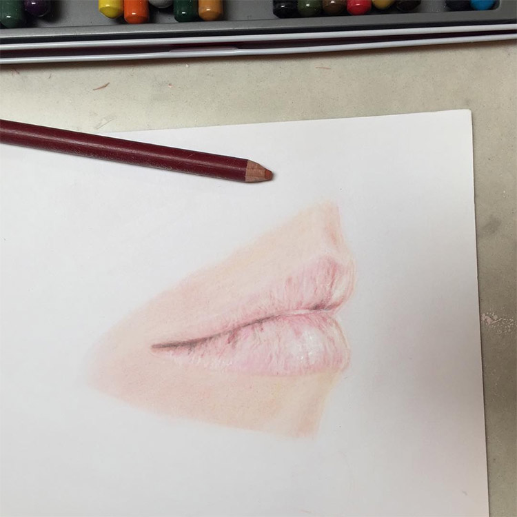 Colored pencil mouth drawing