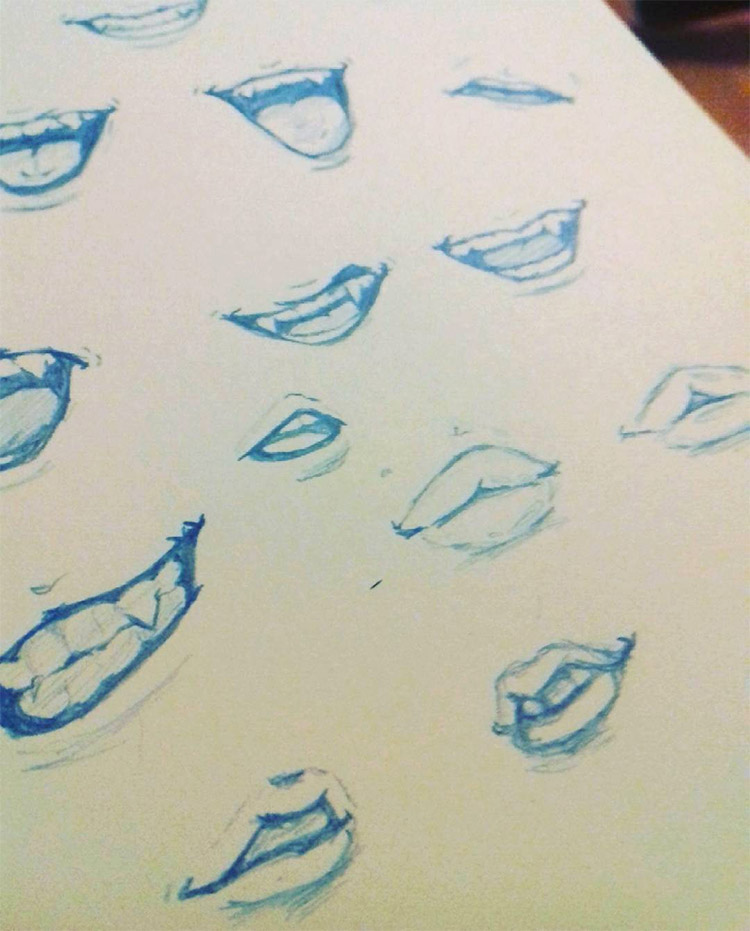 Blue lips drawn