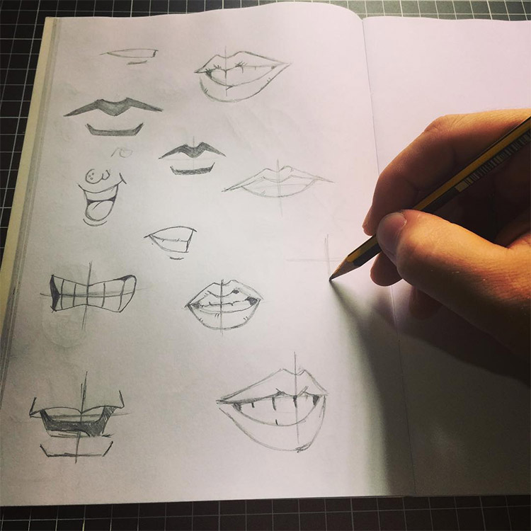 Drawing lips in action