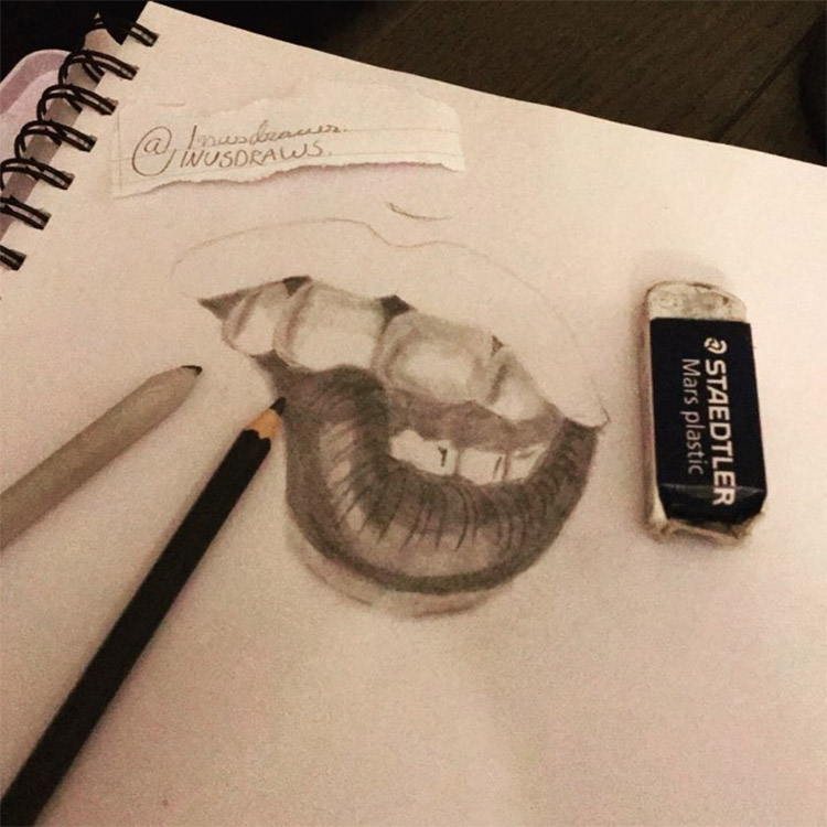 Detailed lip drawing