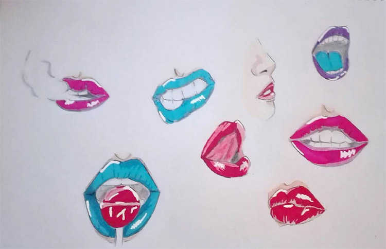Colorful lips on the page