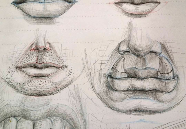Mouth and chin drawings