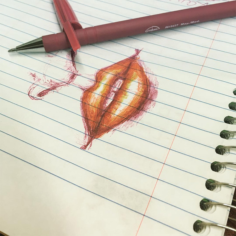 Red lips on lined paper