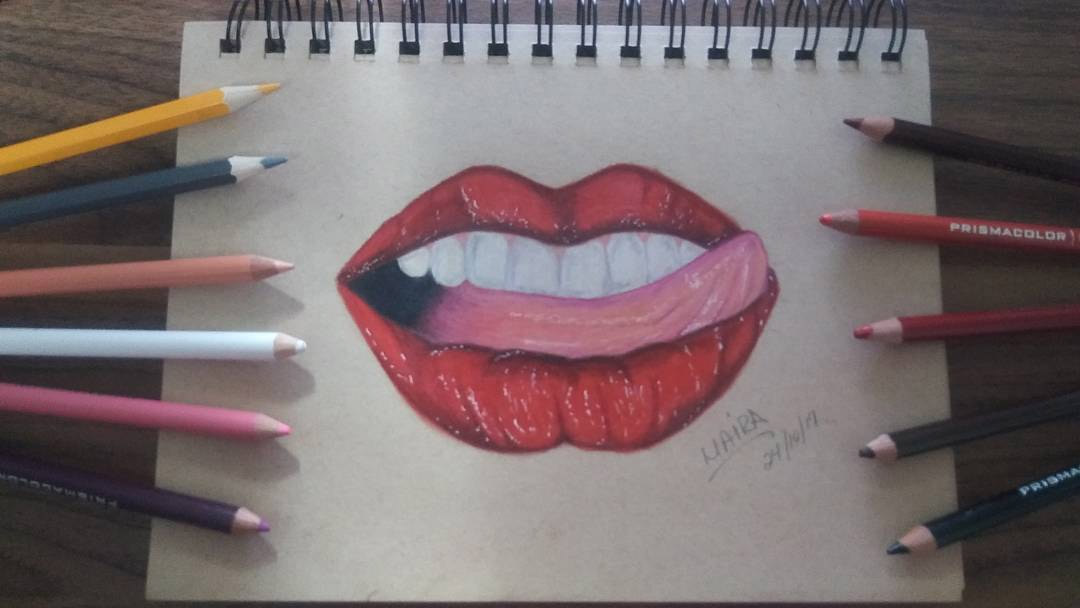 Drawing red lips with tongue sticking out