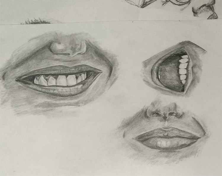 Beautiful lips sketches