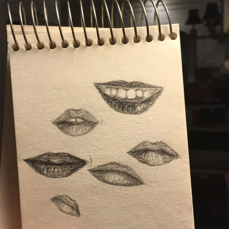 Detailed lips in notepad