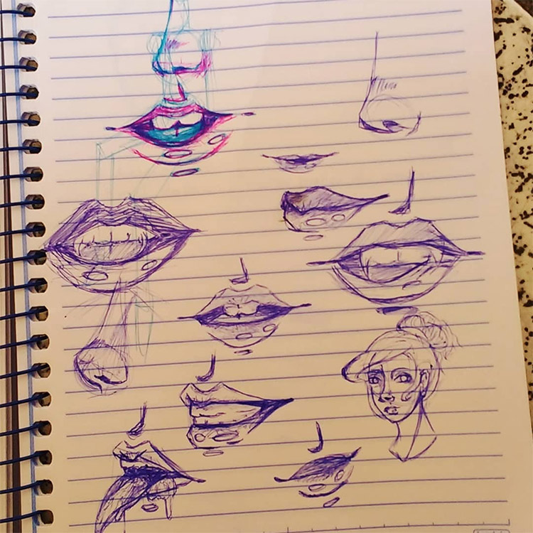 Quick lips sketches