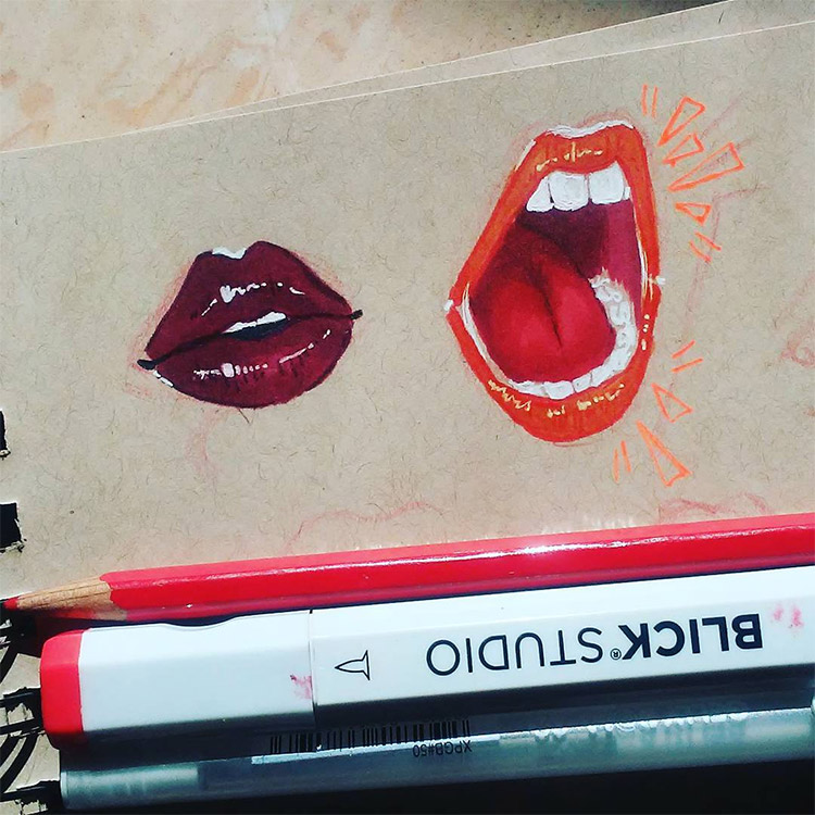 Red lips yelling drawing