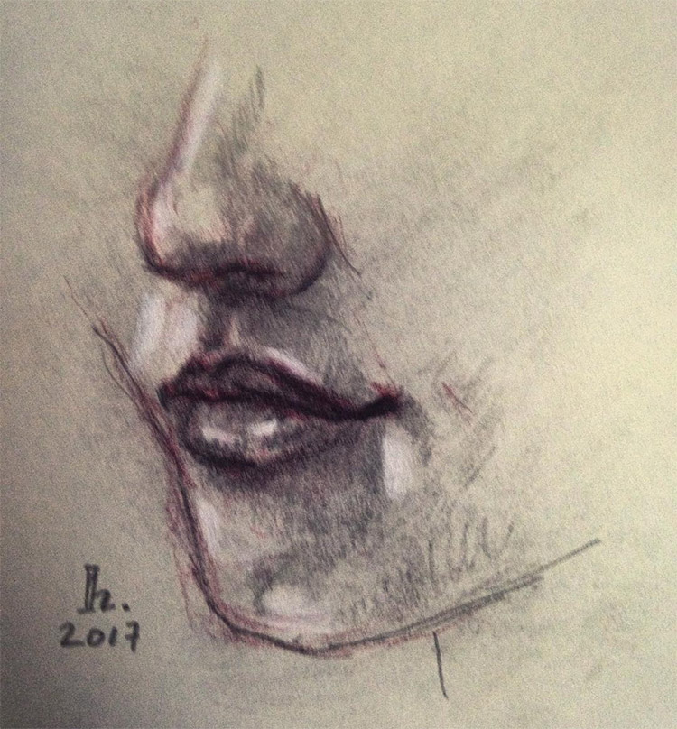 Realist drawing of nose and mouth