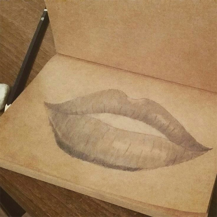 Lips in sketchbook