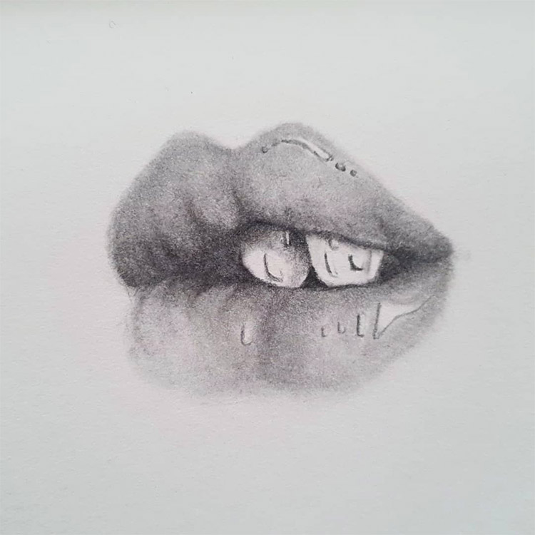 Lips and teeth drawing