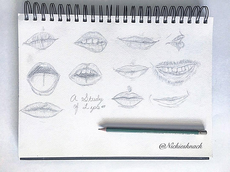 Dark sketches of lips