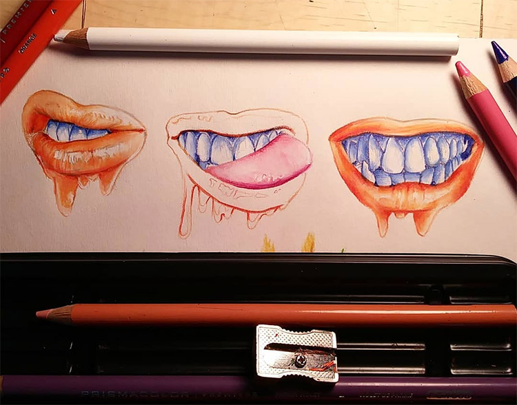 Red lips and teeth colored pencils