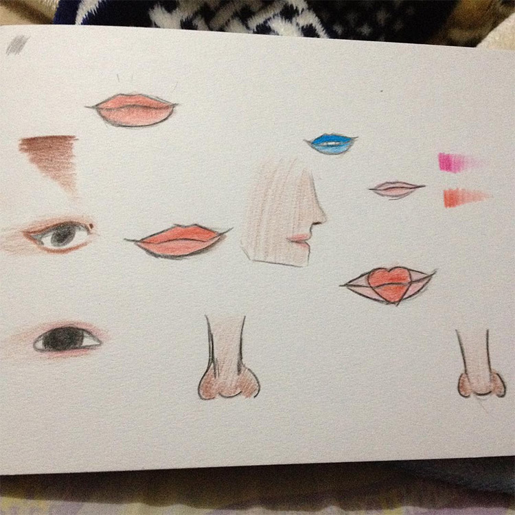 Colorful lips and noses