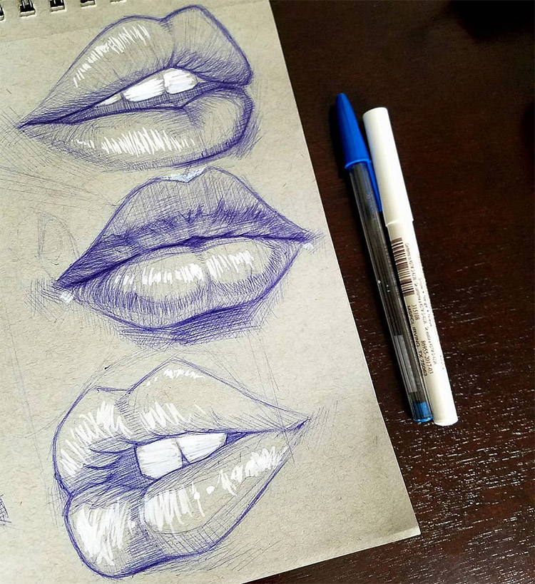 Lip drawings with white highlights