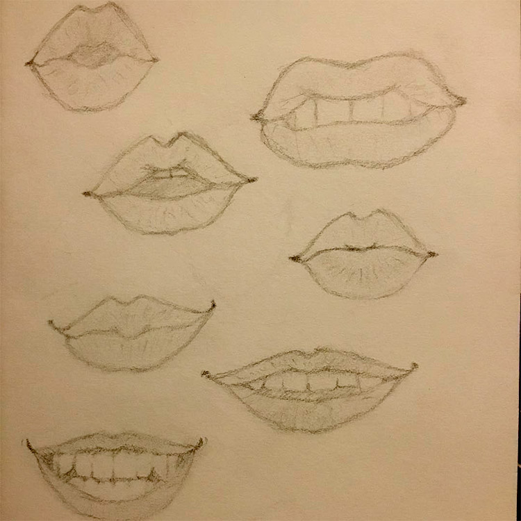 Small sketchbook of lips