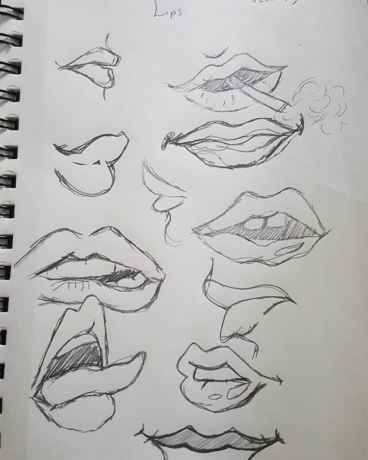 Sketchbook doodles with lips